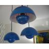 Suspension de 3 Flowerpot bleue design Verner Panton par Louis Poulsen - 1960s