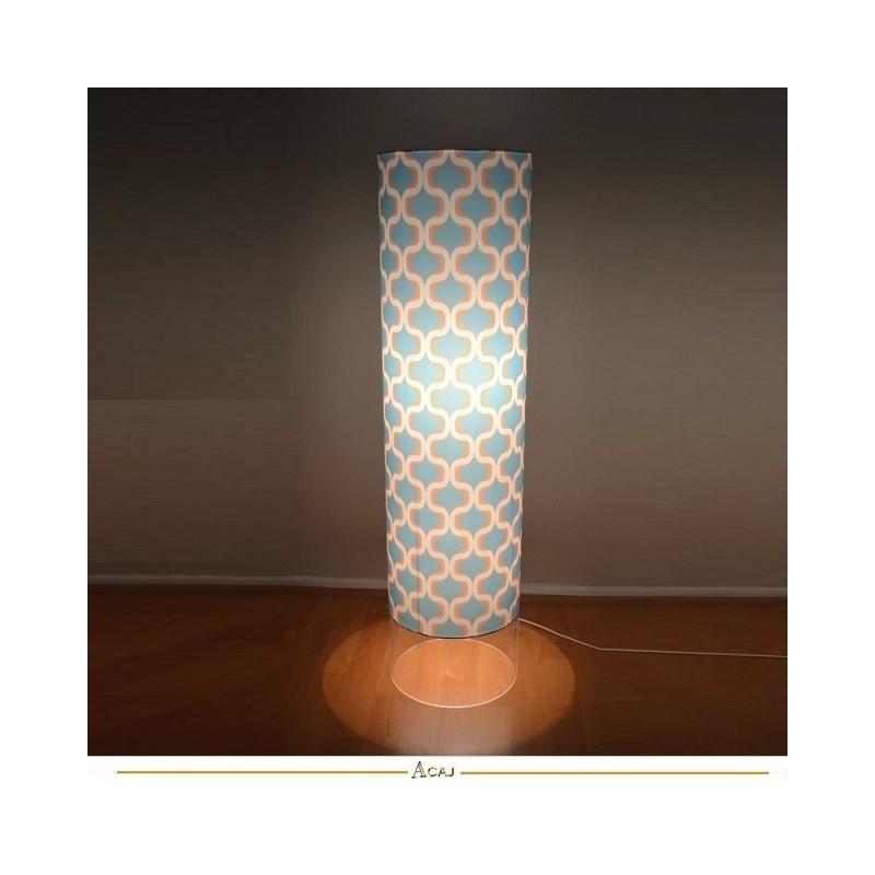 lampe de sol abat-jour colonne pied plexiglas design