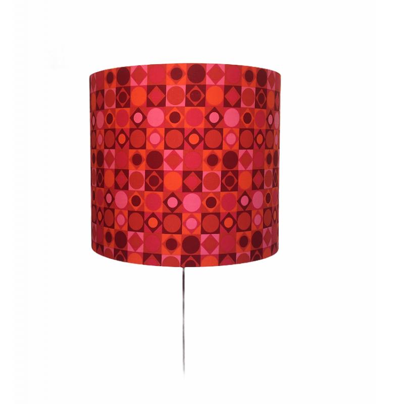 Lampshade Damier H40cm D45cm - vintage fabric
