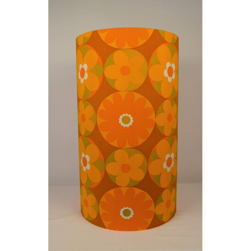 Lampshade  Corolles orange H60cm D35cm - vintage 1970's tissue