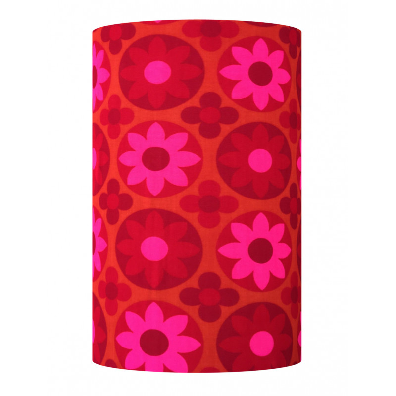Lampshade Corolles red H60cm D35cm - vintage 1970's tissue