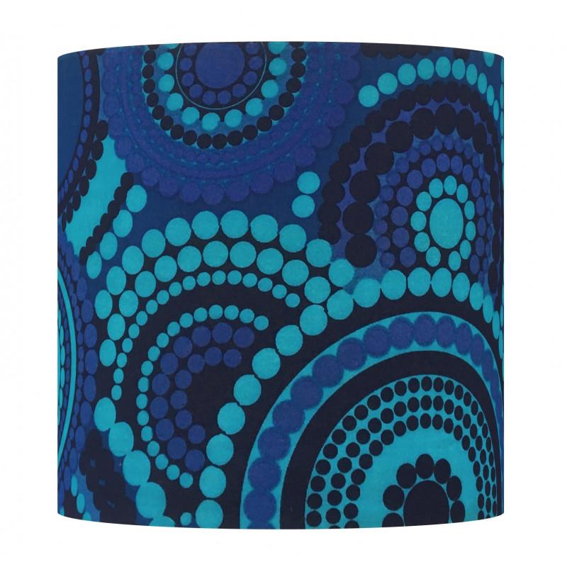 Lampshade Boheme bleu H33 D33 - 1970 tissue